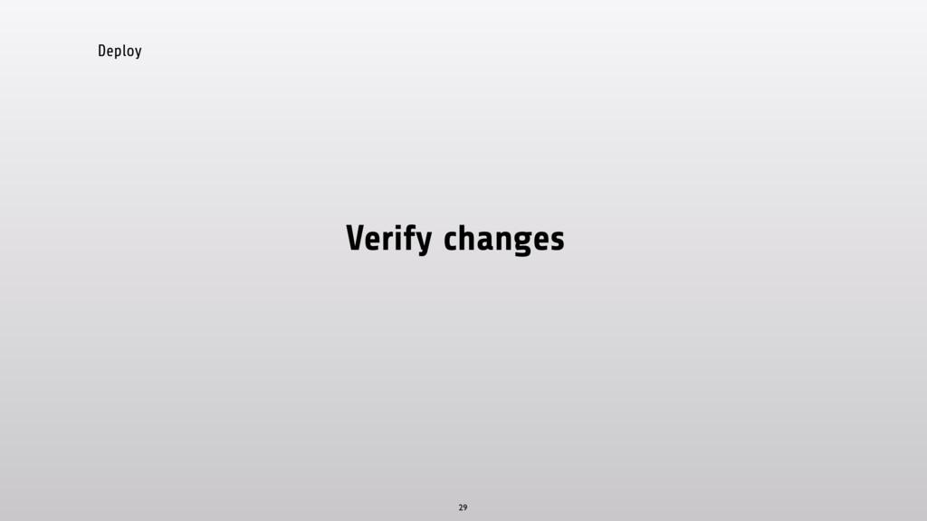 Deploy Verify changes 29