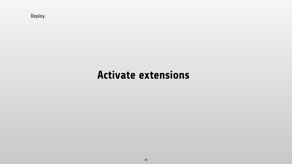 Deploy Activate extensions 36