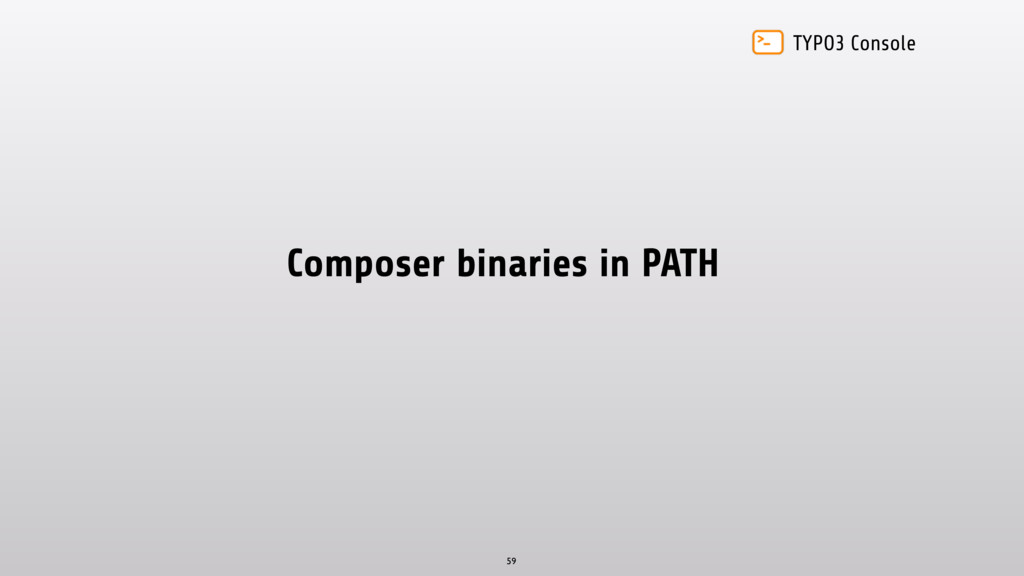 TYPO3 Console Composer binaries in PATH 59