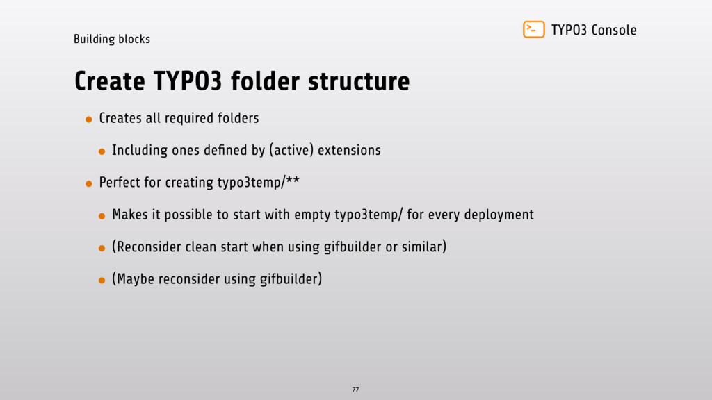 TYPO3 Console Building blocks Create TYPO3 fold...