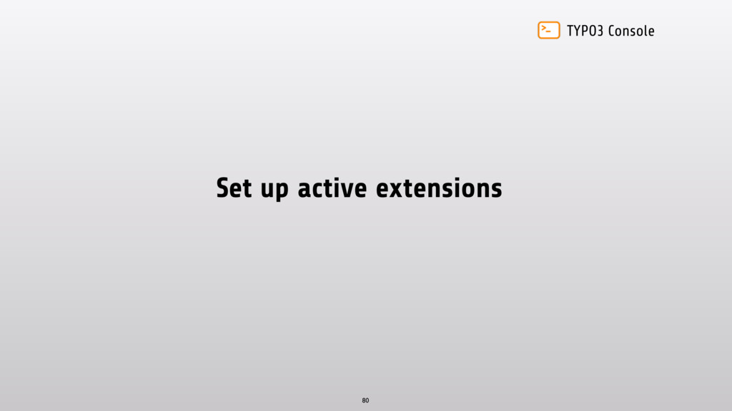TYPO3 Console Set up active extensions 80