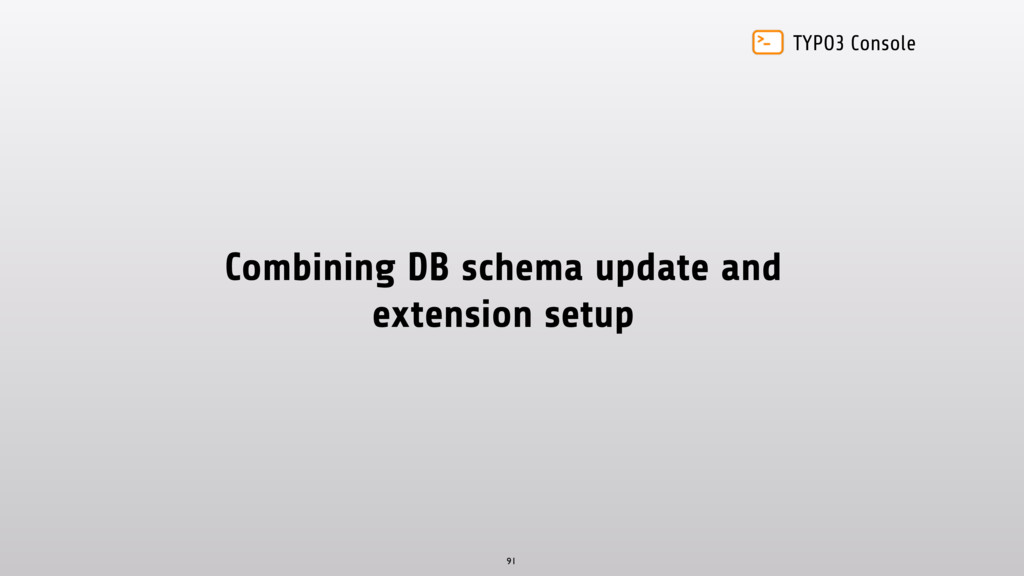 TYPO3 Console Combining DB schema update and ex...