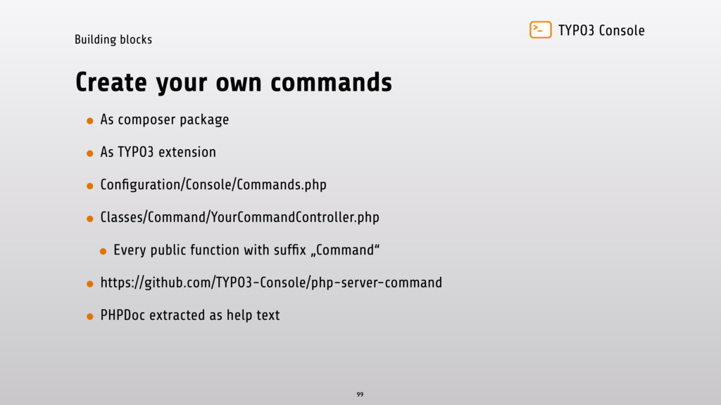 TYPO3 Console Building blocks Create your own c...