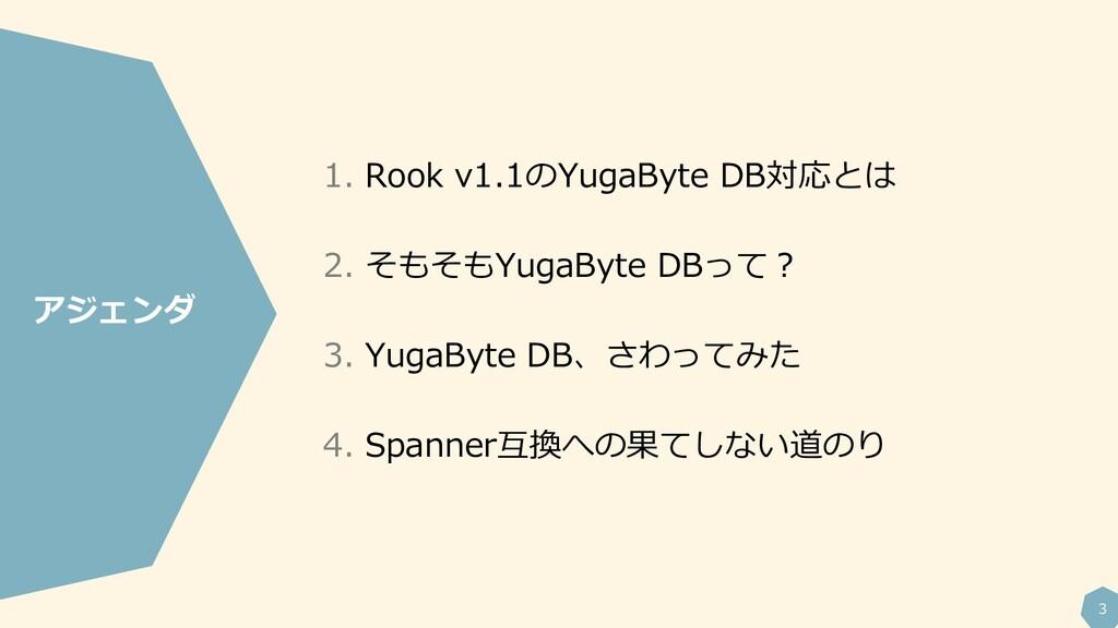 3 1. Rook v1.1のYugaByte DB対応とは 2. そもそもYugaByte ...