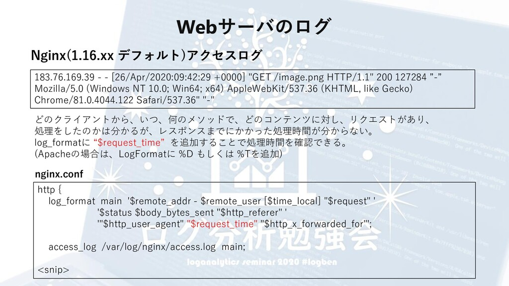 Webサーバのログ 183.76.169.39 - - [26/Apr/2020:09:42:...
