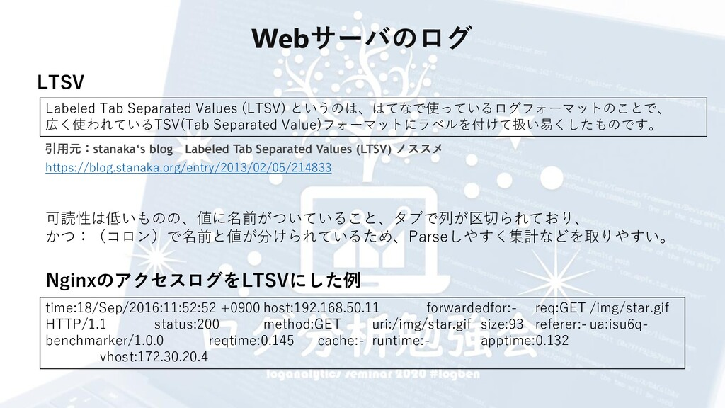 Webサーバのログ LTSV Labeled Tab Separated Values (LT...