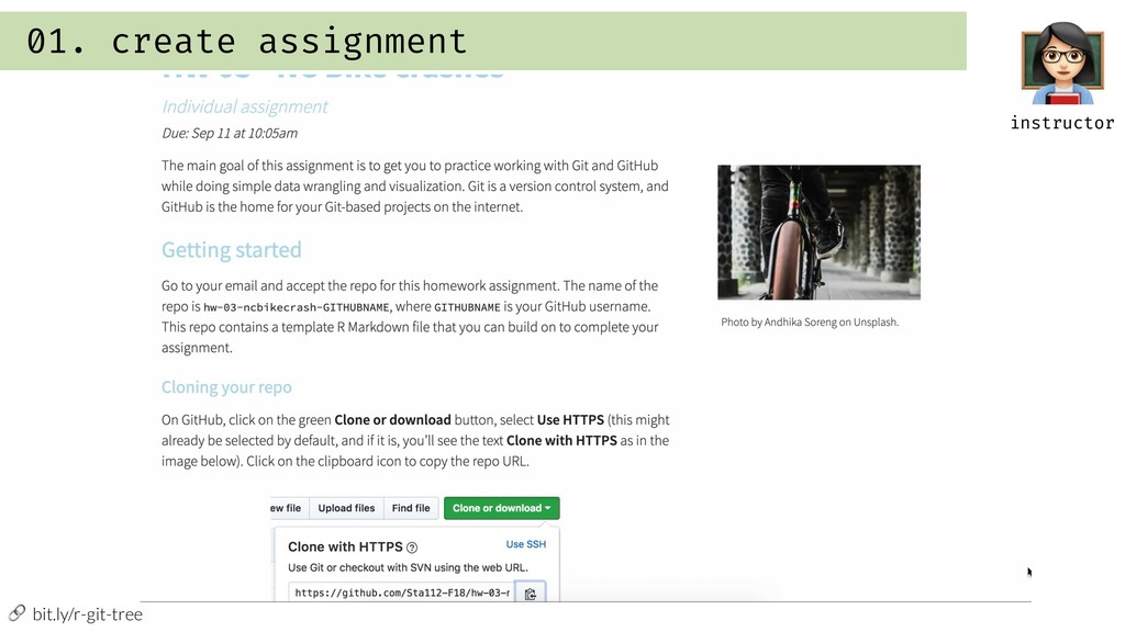 """bit.ly/r-git-tree 01. create assignment """" inst..."""