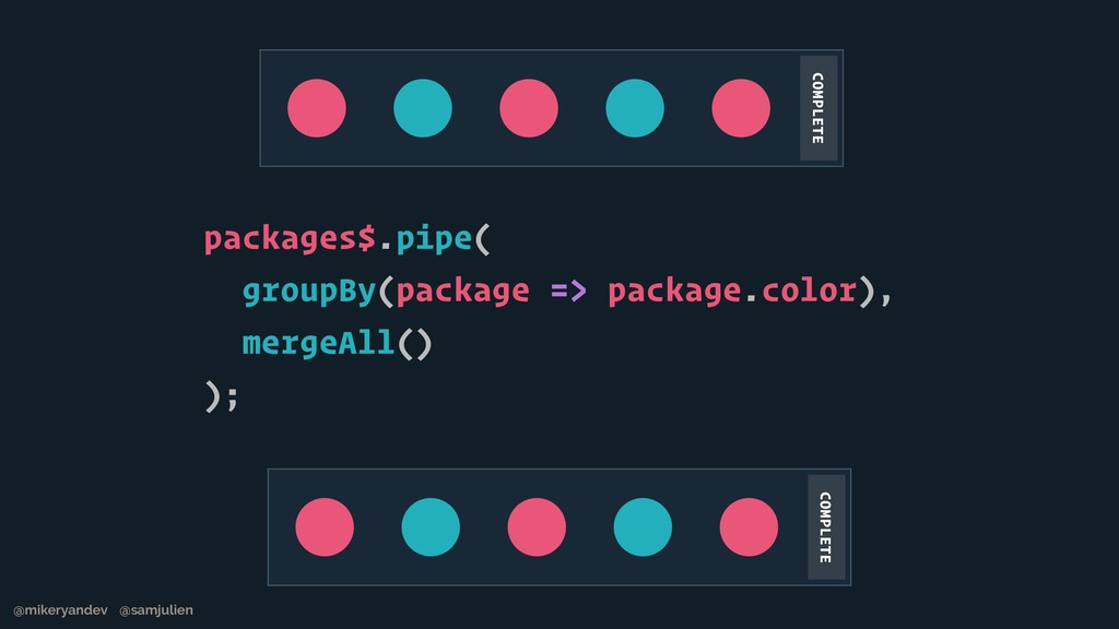 packages$.pipe( groupBy(package => package.colo...