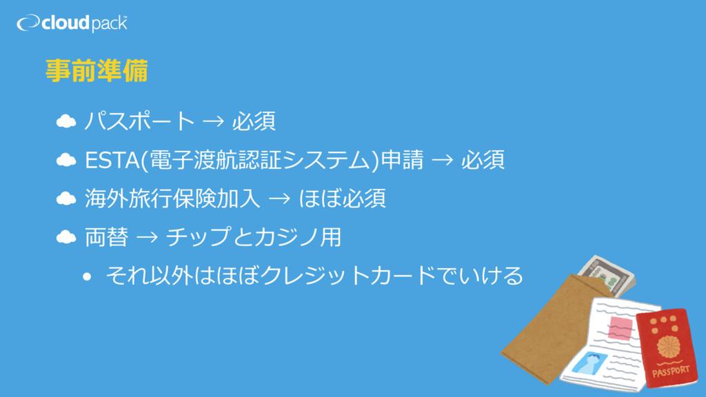 事前準備 ☁ パスポート → 必須  ☁ ESTA(電⼦子渡航認証システム)申請 → ...