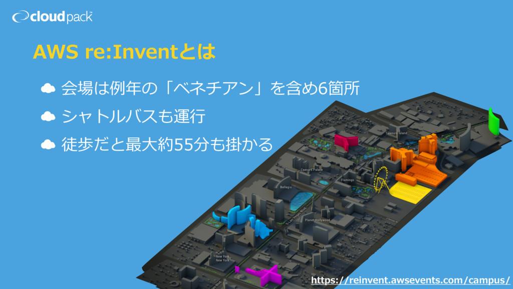 AWS re:Inventとは ☁ 会場は例例年年の「ベネチアン」を含め6箇所  ☁ シャ...