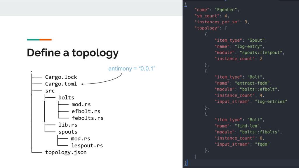 Define a topology . ├── Cargo.lock ├── Cargo.to...