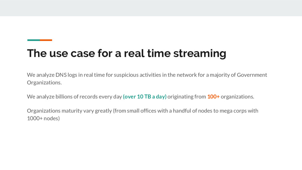 The use case for a real time streaming We analy...