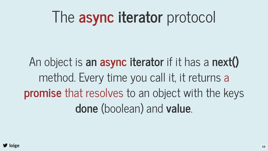 The async iterator protocol An object is an asy...