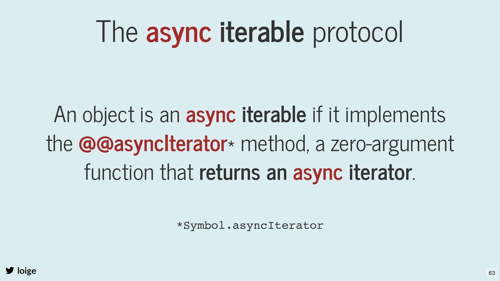 The async iterable protocol An object is an asy...