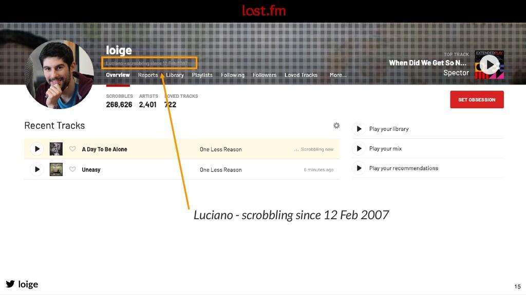 Luciano - scrobbling since 12 Feb 2007 loige 15