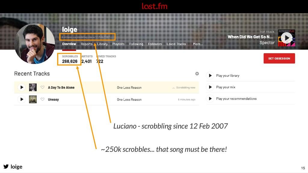 Luciano - scrobbling since 12 Feb 2007 loige ~2...