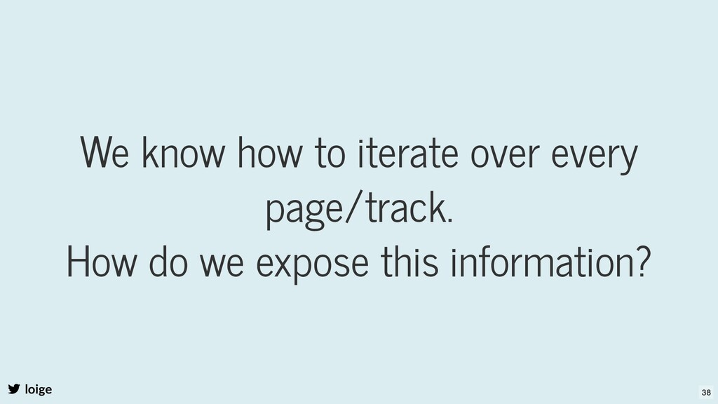 We know how to iterate over every page/track. H...