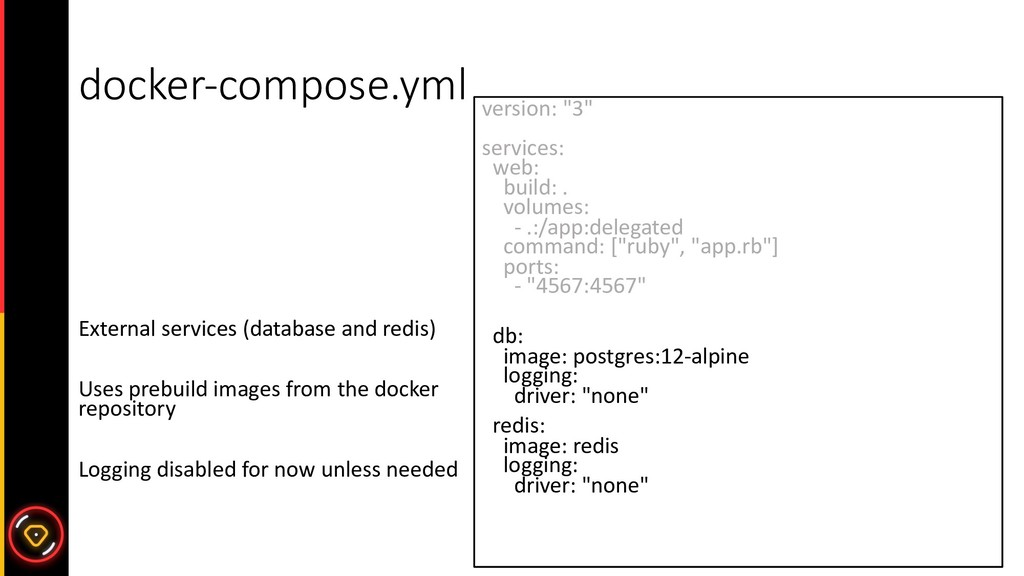 docker-compose.yml External services (database ...