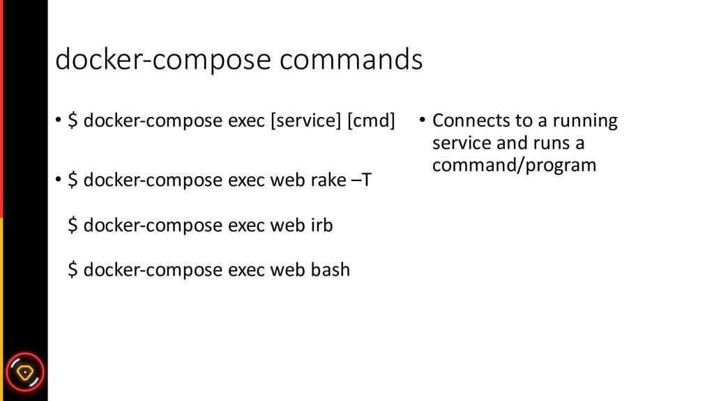 docker-compose commands • $ docker-compose exec...