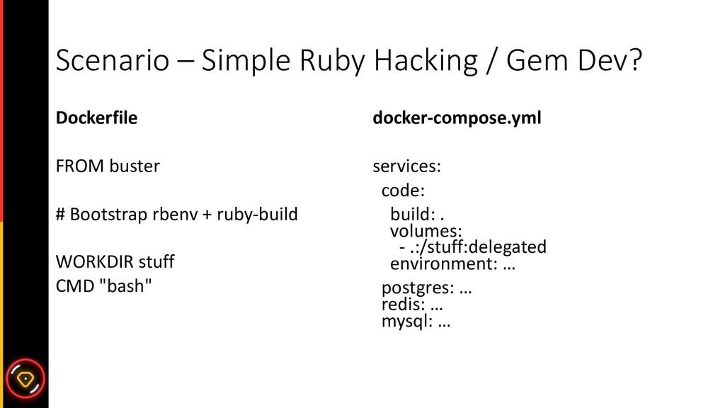 Scenario – Simple Ruby Hacking / Gem Dev? Docke...