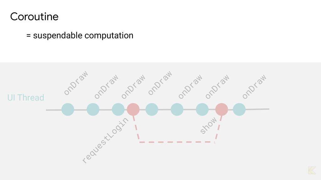 Coroutine   = suspendable computation onDraw on...