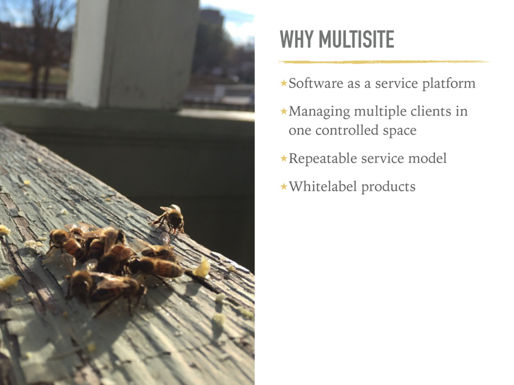 WHY MULTISITE ★Software as a service platform ★...