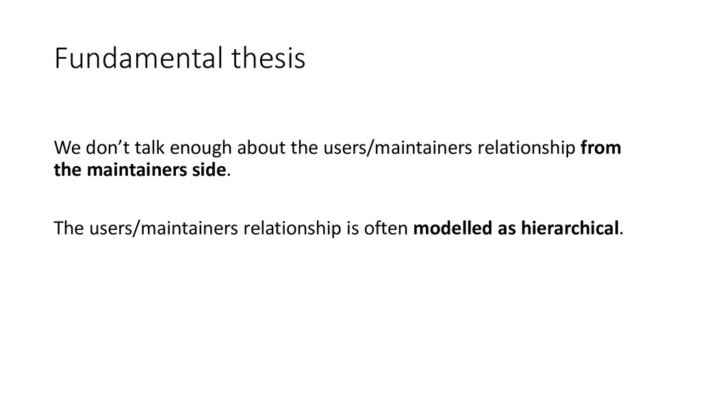 Fundamental thesis We don't talk enough about t...