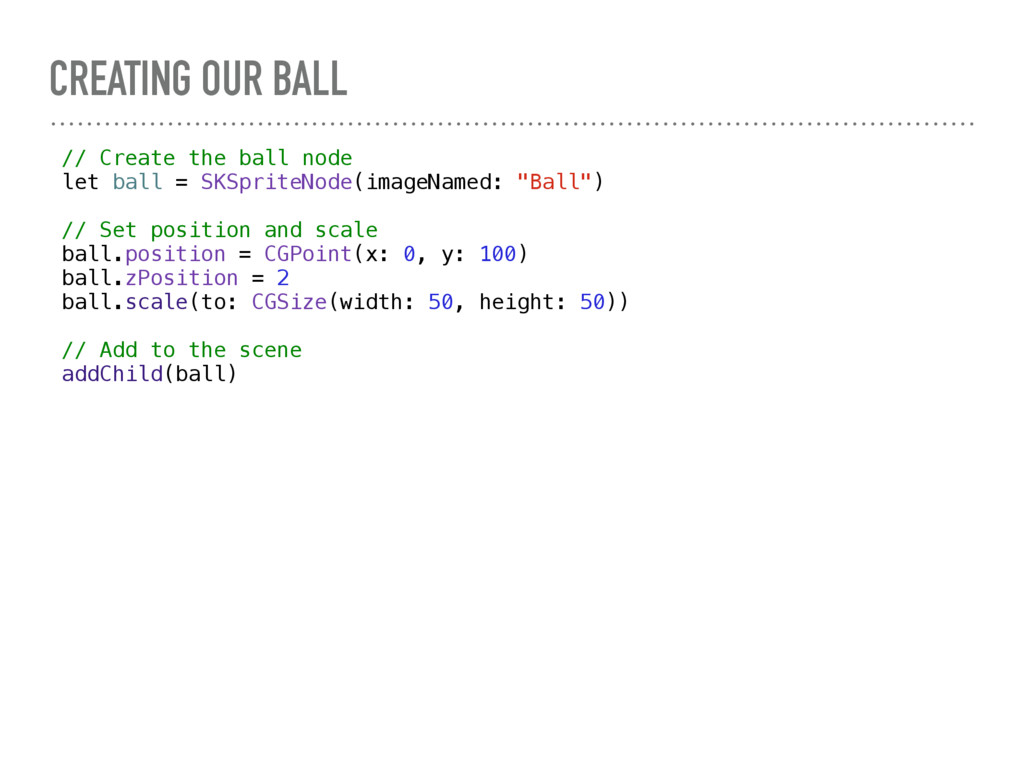 CREATING OUR BALL // Create the ball node let b...