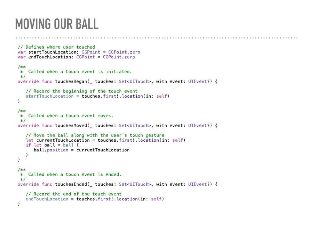 MOVING OUR BALL // Defines where user touched v...
