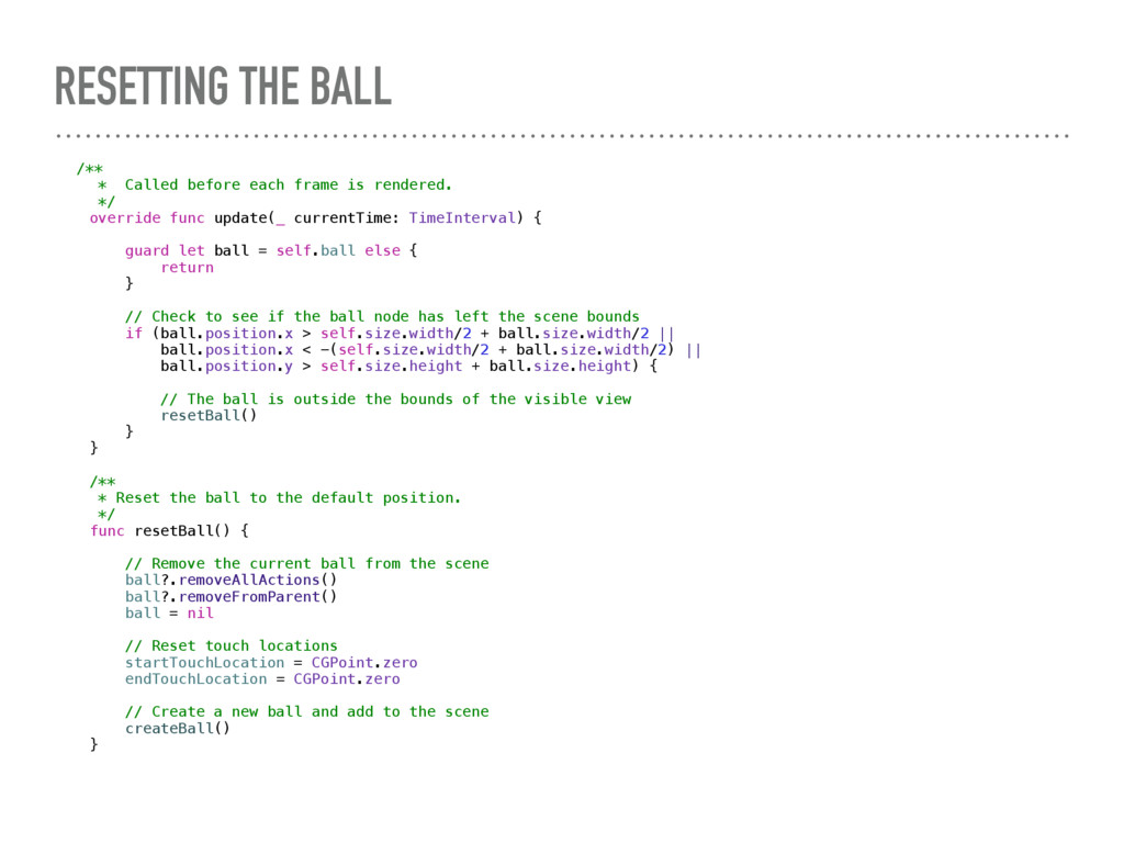 RESETTING THE BALL /** * Called before each fra...