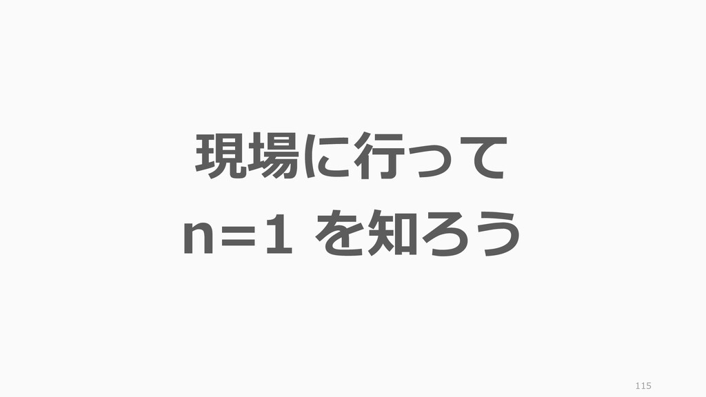 115 現場に行って n=1 を知ろう