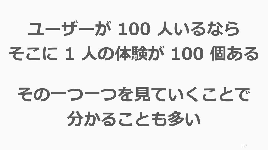 117 ユーザーが 100 人いるなら そこに 1 人の体験が 100 個ある その一つ一つを...