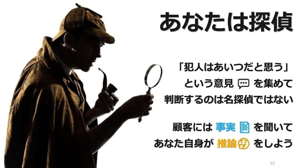 63 「犯人はあいつだと思う」 という意見 💬 を集めて 判断するのは名探偵ではない 顧客には...