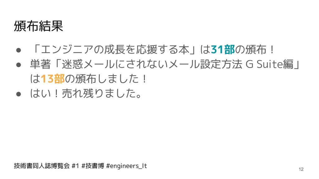 技術書同人誌博覧会 #1 #技書博 #engineers_lt 頒布結果 ● 「エンジニアの成...