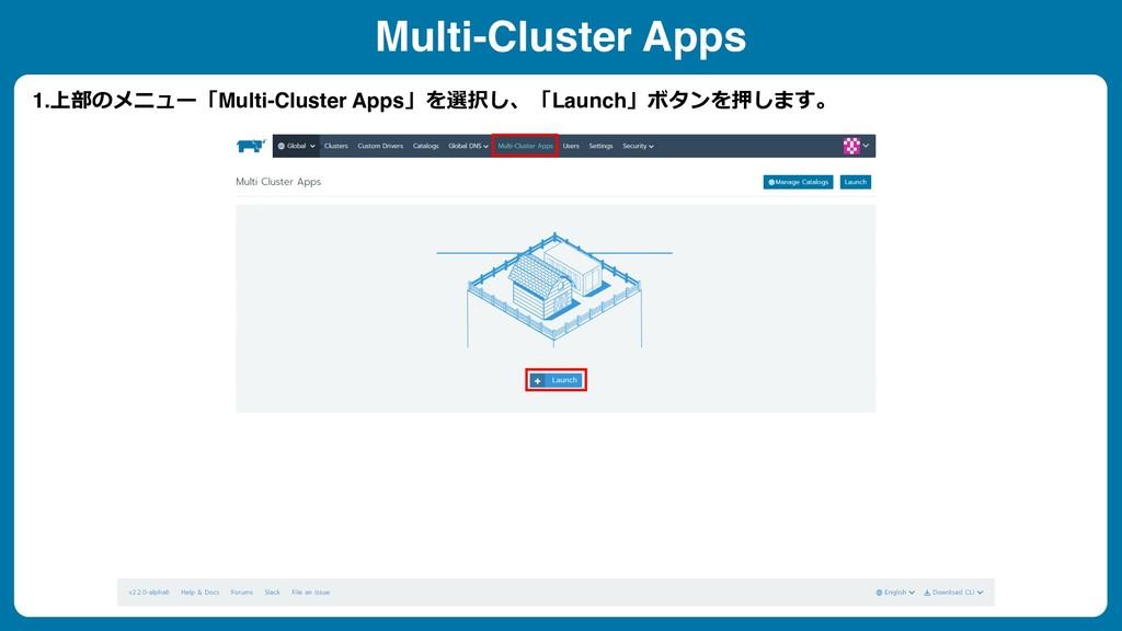 1.上部のメニュー「Multi-Cluster Apps」を選択し、「Launch」ボタンを押...