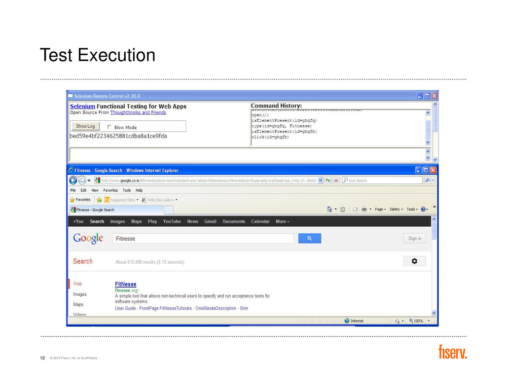 Test Execution © 2012 Fiserv, Inc. or its affil...
