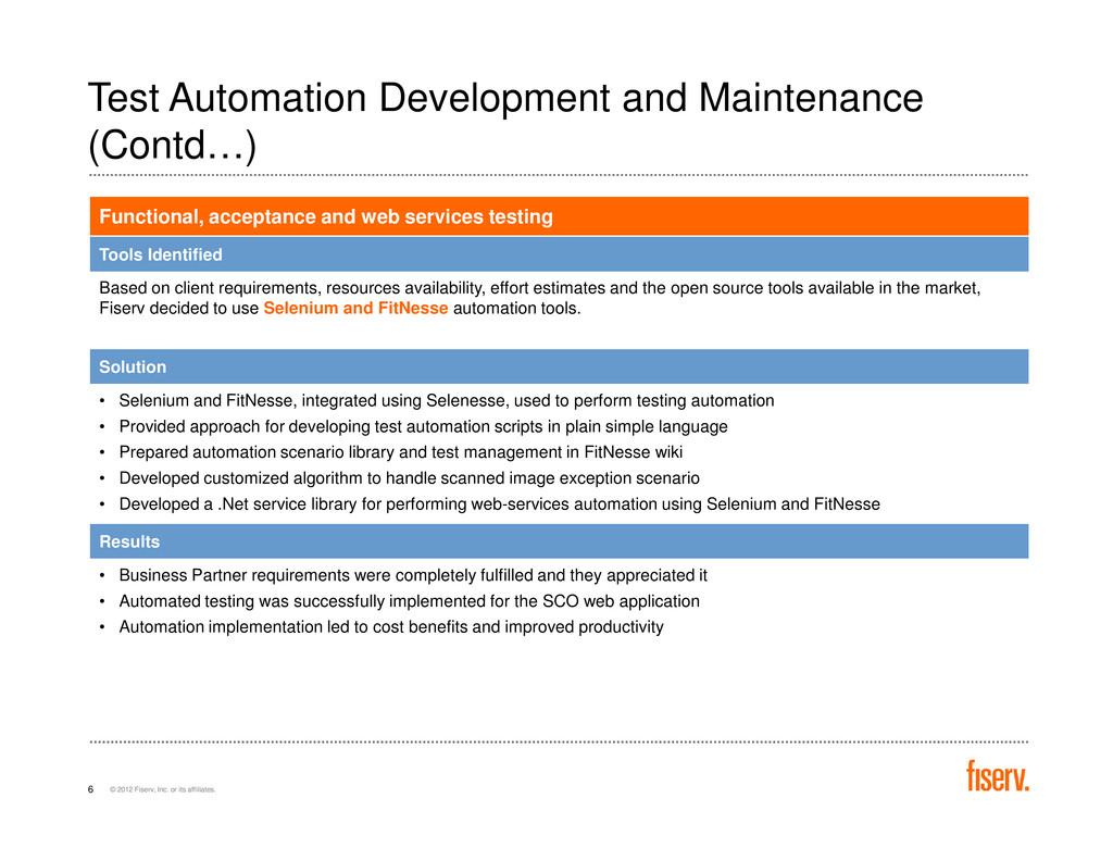 Test Automation Development and Maintenance (Co...