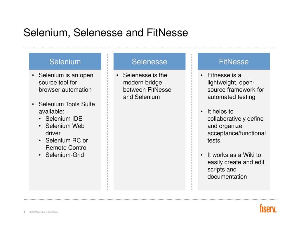 Selenium, Selenesse and FitNesse Selenium • Sel...