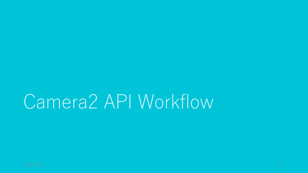 Camera2 API Workflow 2/19/2016 11