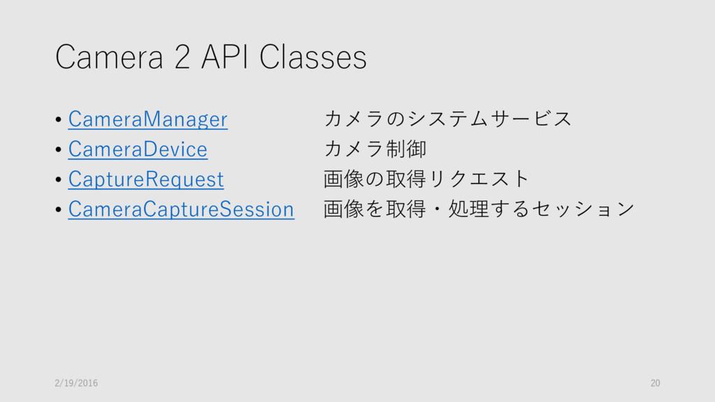 Camera 2 API Classes • CameraManager カメラのシステムサー...