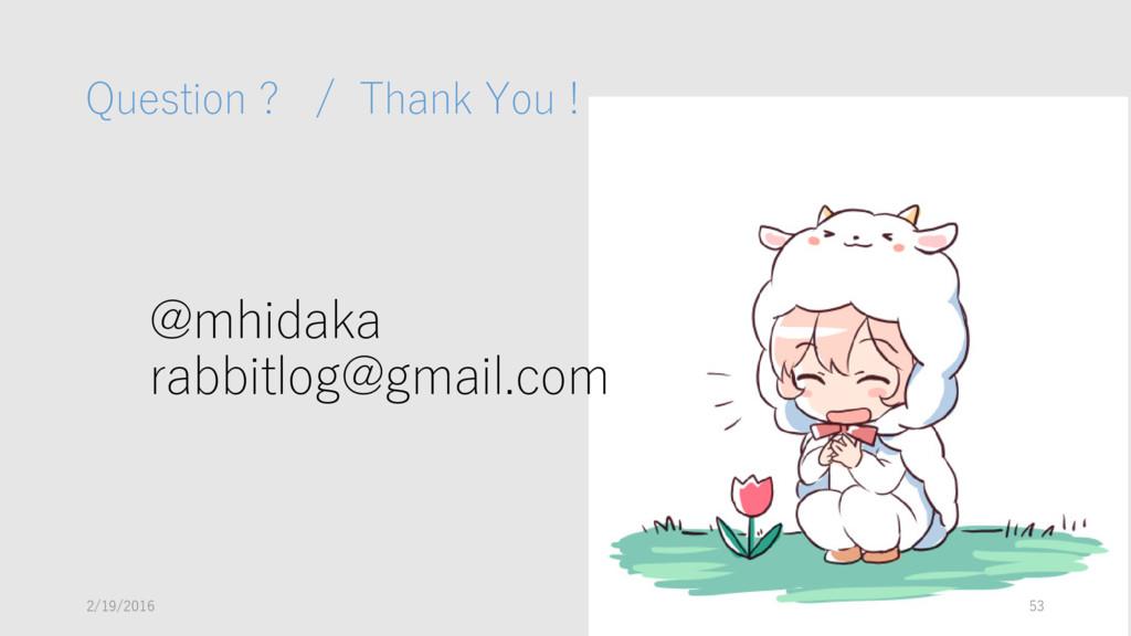 @mhidaka rabbitlog@gmail.com Question ? / Thank...