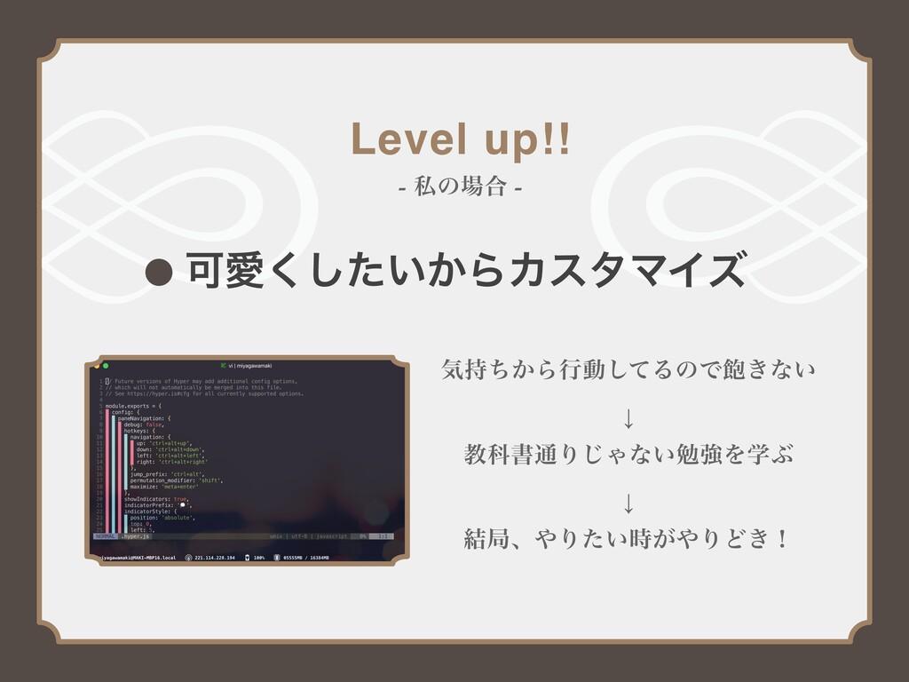 Level up!! - ࢲͷ߹ - ՄѪ͍͔ͨ͘͠ΒΧελϚΠζ ؾ͔ͪΒߦಈͯ͠ΔͷͰ...