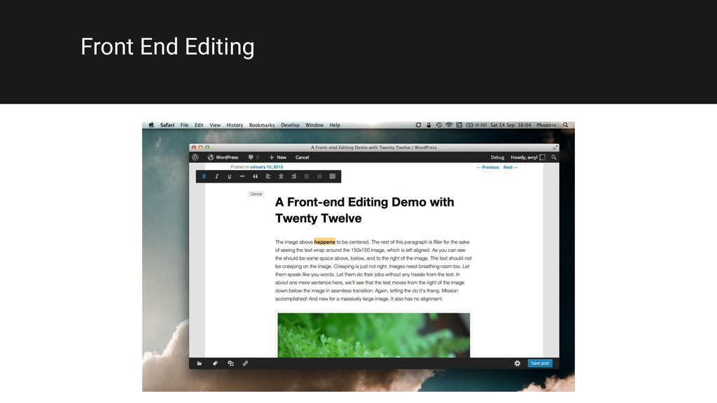 Front End Editing