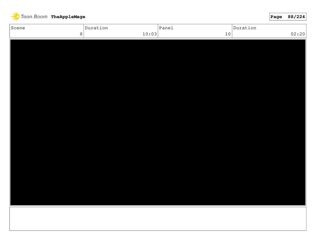 Scene 8 Duration 10:03 Panel 10 Duration 02:20 ...