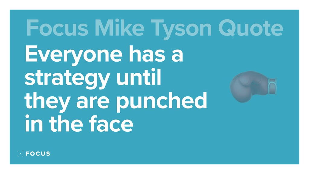 Everyone has a strategy until they are punched ...