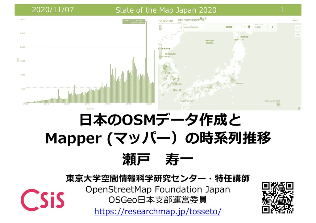 2020/11/07 State of the Map Japan 2020 1 東京⼤学空間...