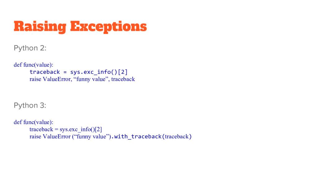Raising Exceptions Python 2: def func(value): t...