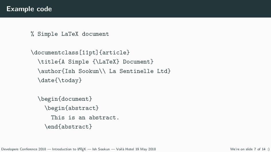 Example code % Simple LaTeX document \documentc...