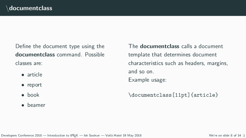 \documentclass Define the document type using th...
