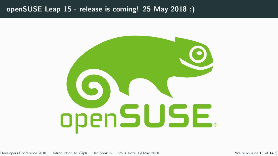 openSUSE Leap 15 - release is coming! 25 May 20...